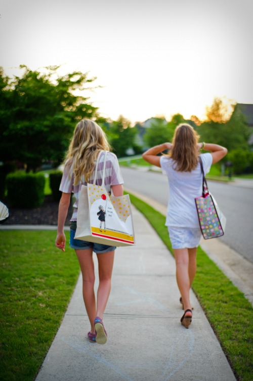 Girls walking
