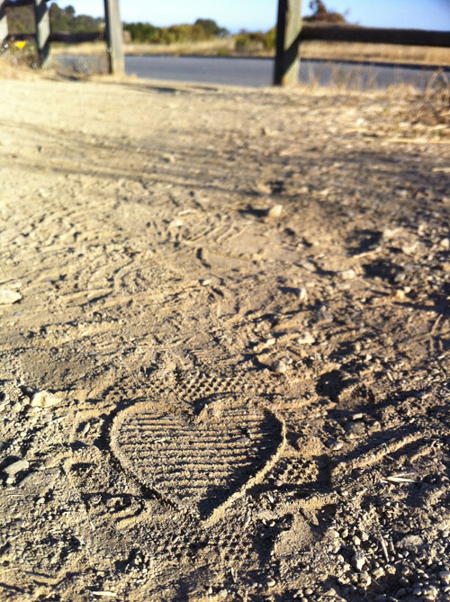 A heart imprint, discovered one winter morning