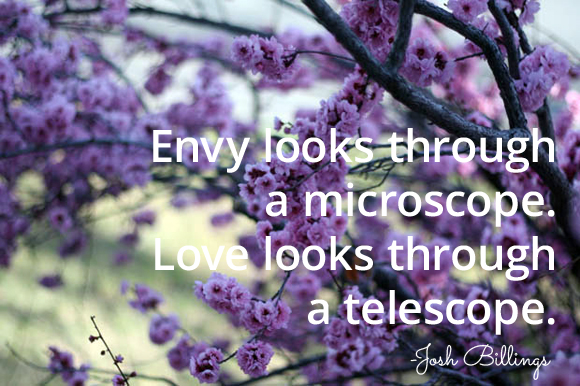"""Envy looks through  a microscope.  Love looks through  a telescope."" -Josh Billings"