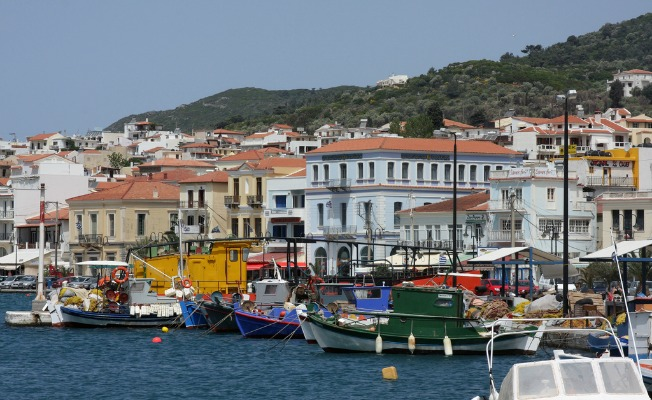 boats on a greek island