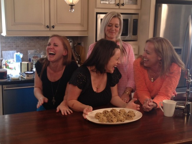 Angie, Jessica, Shauna & Robin laughing during Bread & Wine filming