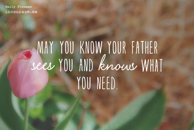 May you know the Father sees you and knows what you need - Emily Freeman for (in)courage