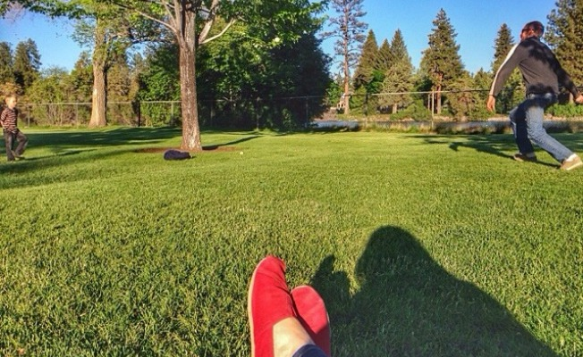 Lounging on the grass at summertime.