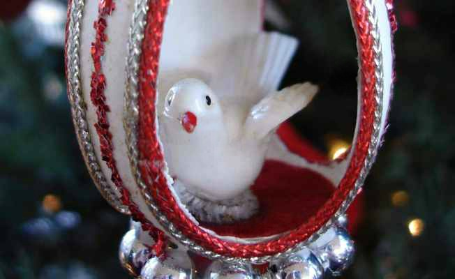 Vintage Bird in Eggshell Ornament